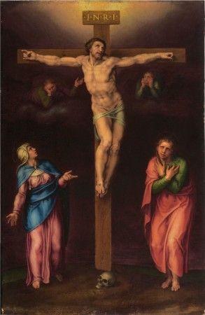 Crucifixión con María y Juan Miguel Ángel Buonarroti
