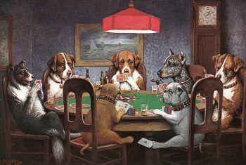 Perros jugando al Póquer